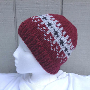 Maroon beanie - Knit Fair Isle hat - Knitted wool beanie - Womens beanie - Teens hat - Fair Isle beanie - Womens knitted hat