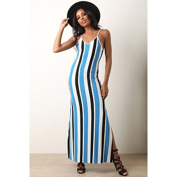 Lace-Up Back Striped Maxi Dress