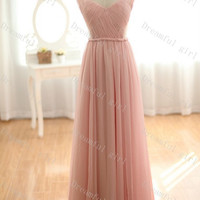 Pink sweetheart straps chiffon pleated bridemaid dress ,evening dress ,prom dress