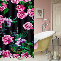 New Kate Spade Luxury Floral Pink Black Best Shower Curtain 60 x 72 High Quality