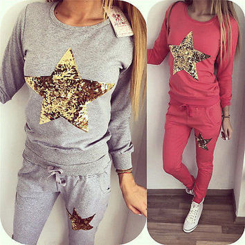 Women 2Pcs Tracksuit Hoodies Sequin Sweatshirt Pants Sets  Wear Casual