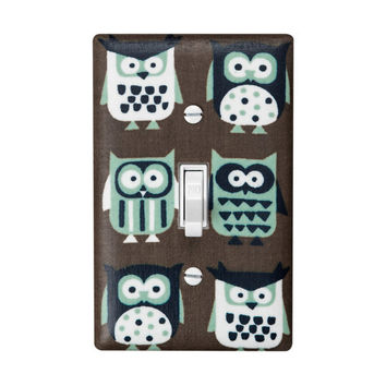 Owl Light Switch Plate Cover / Kids Room Nursery Decor / Auqa Brown White Owls / By Slightly Smitten Kitten Designs