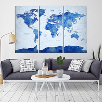 98286 - World Map Wall Art - World Map Push Pin Travel- Push Pin World Map- World Travel Map- Push Pin Map Canvas- Travel Map Canvas- Travel Map Art