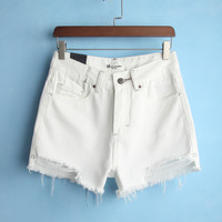 Summer Simple High Waist Denim White Shorts [6332304580]