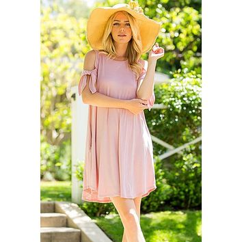 Marley Bow Tie Sleeve Cold Shoulder Swing Dress (Mauve)