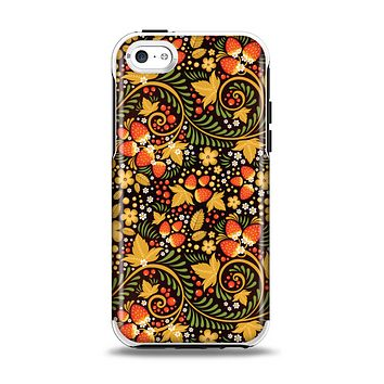 The Colorful Floral Pattern with Strawberries Apple iPhone 5c Otterbox Symmetry Case Skin Set