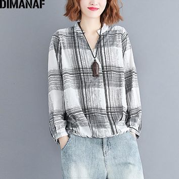 DIMANAF Women's Blouse Shirt Female Clothing Plus Size Linen Vintage Lady Basic Top Tunic V-Neck Print Plaid Black 2018 Autumn