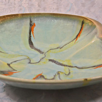 West German Carstens Tonnieshof, Mid Century Pottery, Shallow Bowl, Aqua