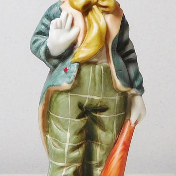 Clown with Bat and Peace Sign Bisque Porcelain Ceramic Vintage Clown Hand Painted Circus Life # 50763 Creepy White Elephant Gag Gift Geek