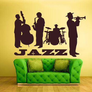 Wall Vinyl Decal Sticker Bedroom Decal Jazz Band Instruments Music  z627
