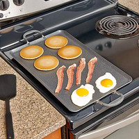 Jumbo Large Double Stove Burner Cover Nonstick Griddle, Black or Red