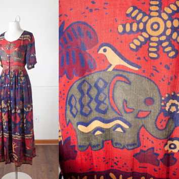 1990s Grunge Maxi Dress | Boho Chic India Gauze Dress Bird Print Dress 90s Festival Dress Crinkle Rayon Dress Tribal Print Elephant Dress