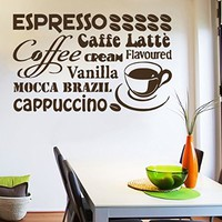 Wall Decals Coffee Coffee Beans Cup Decal Vinyl Sticker Home Decor Interior Design Kitchen Cafe Restaurant Ms707
