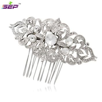 Silver Rhinestone Crystal Hair Comb Vintage Women Hairpins Bridal Wedding Hair Jewelry Accessories 1454R