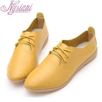 Nysiani Split Leather Oxford Shoes For Women Pointed Toe Casual Nurse Shoes Autumn Fla