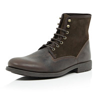 River Island MensDark brown suede leather military boots