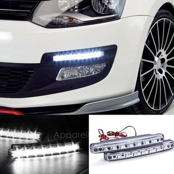 2Pcs White Car 8LED DRL Daytime Running Lights Head Lamp AP [7942815687]