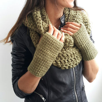 KHAKI GREEN SCARF Womens Hand Crochet Scarf Infinity Mens Braided Cable Boho Cowl Loop Crochet Slouchy  Scarf Slouch Beanie Hand Winter