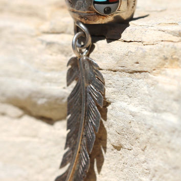Ear Cuff, Sterling Silver, Feather, Zuni Sunface, Turquoise, Coral, Mother of Pearl, Boho, Earrings