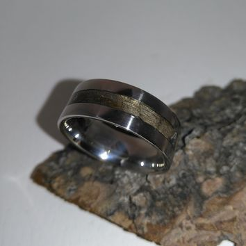 Eucalyptus and Stainless Steel Bentwood Ring