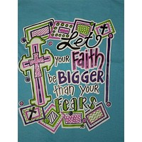 Southern Chics Funny Faith Bigger the Fear Chevron Cross Girlie Bright T Shirt