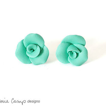 Small Aqua Rose Earrings, Sterling Silver, Posts, Mermaid Green, Teal, Seafoam Green, Wedding, Bridal, Handformed, Tiny, Petite, Flower