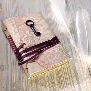 Vintage Key Journal - Small Pink Romantic Leather Pocket Book with Old Style Paper - The Victorian Lady