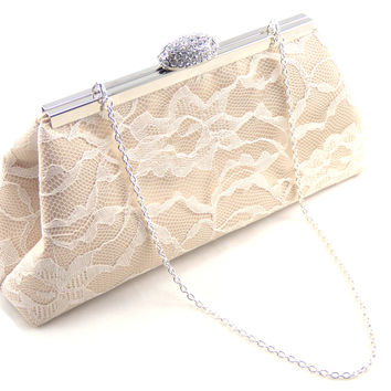 Champagne and Ivory Wedding Clutch