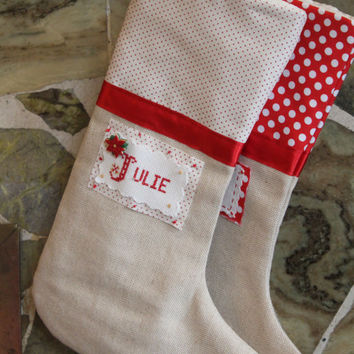 Family of 2, Shabby Chic Linen Christmas Stocking. Christmas Stocking, Handmade Christmas Stocking