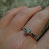 Authentic Navajo,Native American,Southwestern,sterling silver Australian opal ring. Size 6 3/4.Can be knuckle pinky ring.