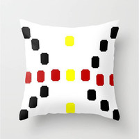 "Abstract Butterfly Throw Pillow Indoor & Outdoor Cover (16"" X 16"", 18"" X 18"", 20"" X 20""),Black,White,Yellow,Red,Pop Art,Squares,Original"