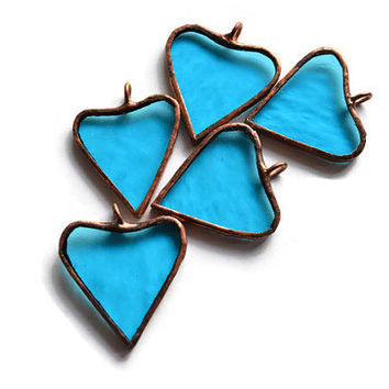 Stained Glass Hearts Set of 5 sky blue, Gift Tags, Topper, Package tag, Charm, Wedding/Hostess Favors, Garland, Wreath Decoration, Ornaments