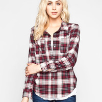 Full Tilt Womens Boyfriend Flannel Shirt Burgundy  In Sizes