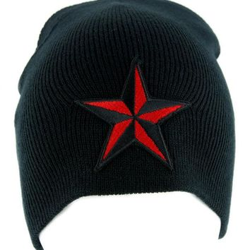 ac spbest Red Nautical Star Beanie Alternative Clothing Knit Cap Rockabilly Tattoo Ink