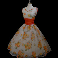Vintage 1950s 50s Chiffon Roses Cocktail Party Prom Dress M