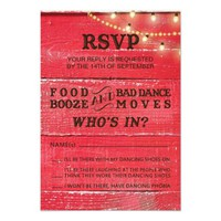 Country Wedding RSVP for rustic wedding 3.5x5 Paper Invitation Card