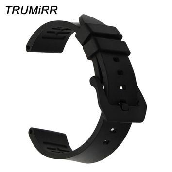 22mm 24mm Fluoro Rubber Watchband for Seiko Citizen Casio Hamilton Watch Band Brushed Stainless Steel Clasp Strap Wrist Bracelet