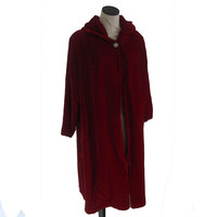 Red Velvet Swing Coat with Rhinestone Button, Sunkissed of California, Retro, mid century Ruby Red Riding Hood Cape Coat