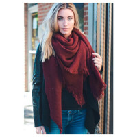 """Style and Flare"" Frayed Edge Burgundy Oblong Blanket Style Scarf"