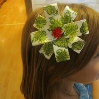 Black Friday sale Cyber Monday Sale Girls hair ribbon flower The Grinch Ready to ship! fun hair ribbon