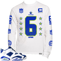 OutRank Apparel 6 Jersey Seahawk 6s Long Sleeve Tee