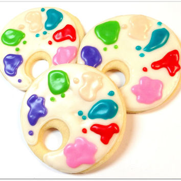 Art Party Sugar Cookies Painters Palette Iced Decorated Cookies Arts & Crafts Party Birthday Favor