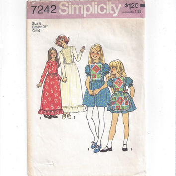 Simplicity 7242 Pattern for Girls' Dress in 2 Lengths & Apron, Size 6, From 1975, Pinafore Style Dress, Long or Short, Vintage Pattern