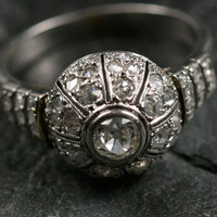 Art Deco White Gold Diamond Bombe Ring by Ruby Gray's | Ruby Gray's Antique & Vintage Rings