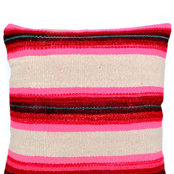 Bolivian Frazada Pillow in Pink Glow, 22""