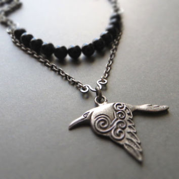 Men's raven pendant necklace, scandinavian / unisex / tin alloy, black agate, oxidized sterling silver plated brass, steel