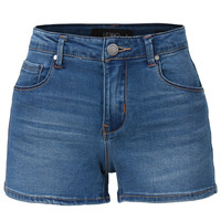 LE3NO Womens Fitted Classic Denim Jean Shorts with Pockets