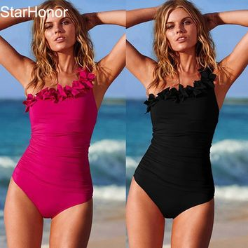 Solid Women Swimwear Halter One Piece Swimsuit Retro Biquini Bathing Suit Beach Suits Monokini Plus Size S-3XL