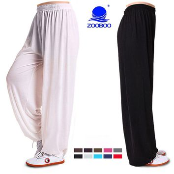 Yoga Tai Chi Pants Ice silk Bloomers Trousers Fitness Dance Pants Kung Fu Cropped Pant Running Pant Wing Chun Clothing Men Women