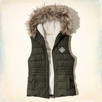 Hollister Sherpa Lined Hooded Puffer Vest